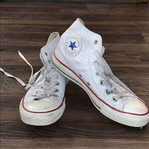 White leather high top converse size 7.5